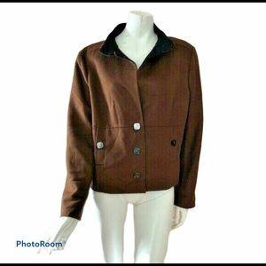 Carlisle 16 Brown Boiled Wool Blazer Jacket Lined